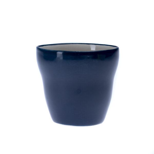 Blå kopp uten hank