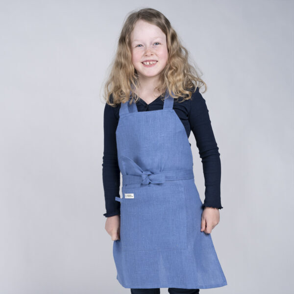 Barneforkle lin blå