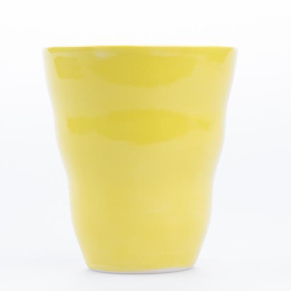 Krus uten hank gul