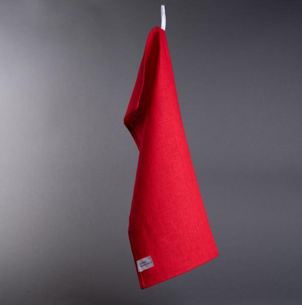 kjøkkenhåndkle i lin rød
