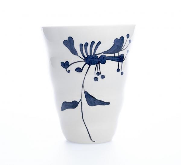 Vid vase blå